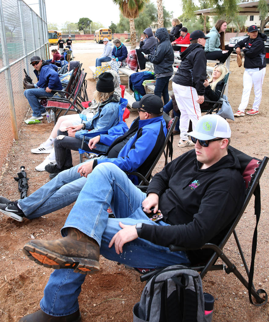 Parents watch a baseball game between Pahranagat Valley High School and Lincoln County High at ...