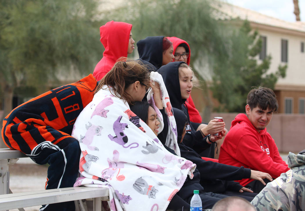 Students watch a baseball game between Pahranagat Valley High School and Lincoln County High at ...