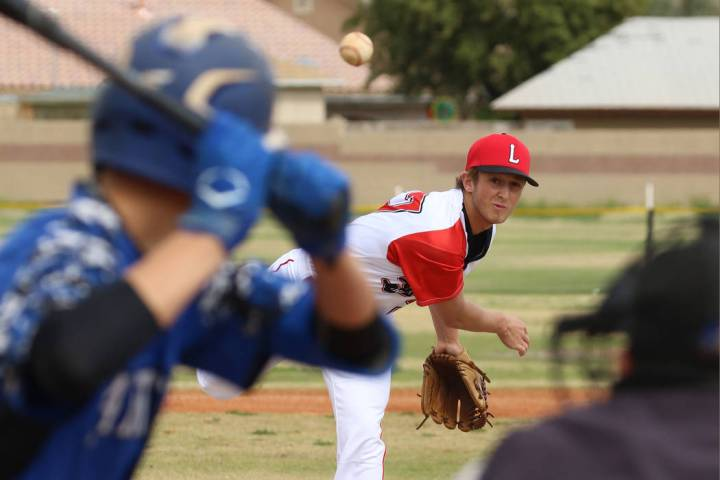 Lincoln County High's Mason Thornock pitches against Pahranagat Valley High School's Gage Davis ...