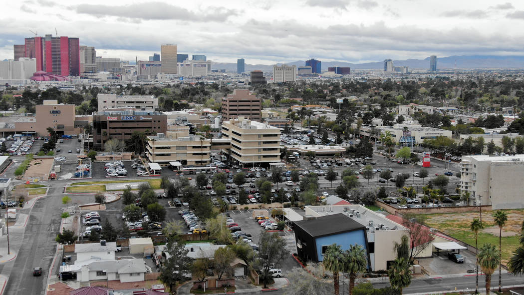 Aerial view of part of the Las Vegas Medical District which includes UMC hospital and UNLV Scho ...