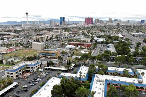 Aerial view of Las Vegas Medical District which includes UMC hospital and UNLV School of Medici ...