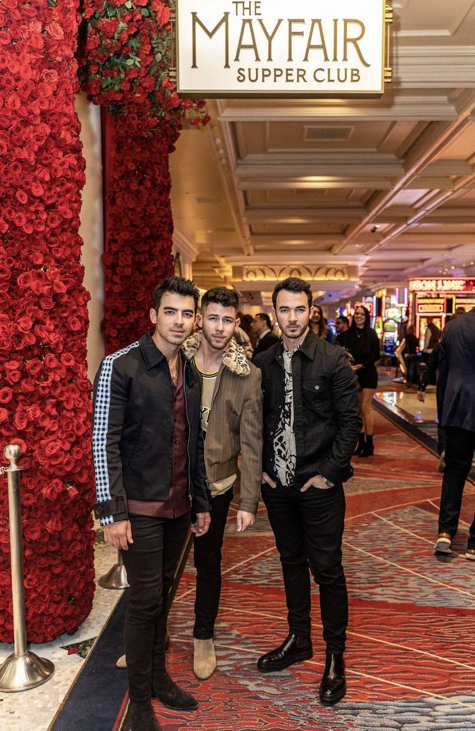 The Jonas Brothers are shown at Mayfair Supper Club at Bellagio on Friday, Jan. 10, 2020. (Tony ...