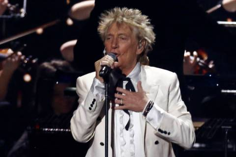 Rod Stewart performs on stage at the Brit Awards 2020 in London, Tuesday, Feb. 18, 2020. (Photo ...