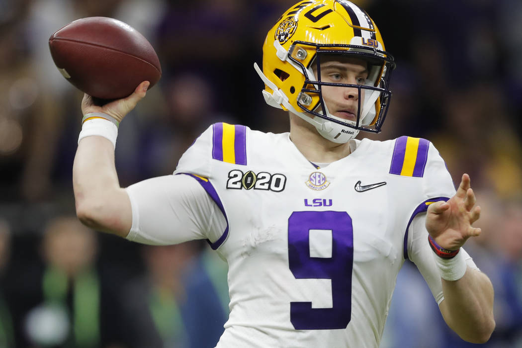 LSU quarterback Joe Burrow passes against Clemson during the second half of a NCAA College Foot ...