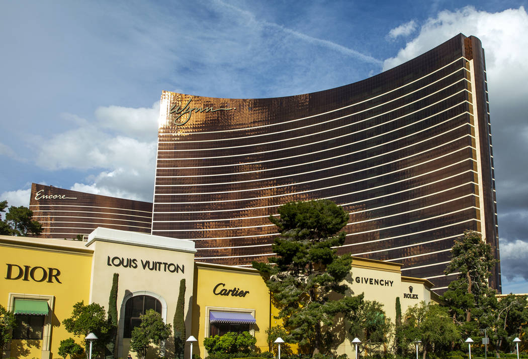 Exteriors of the Wynn Las Vegas, right, and Encore on Saturday, March 14, 2020 in Las Vegas. ( ...