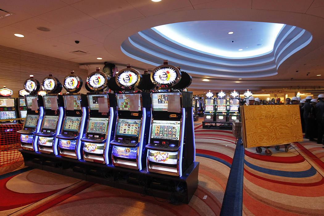 Gaming machines are seen during construction at the Valley Forge Casino Resort on Tuesday, Feb. ...