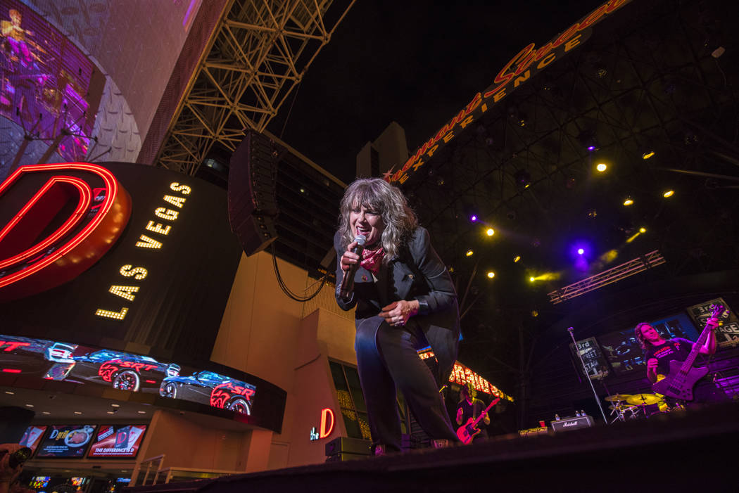 Martha Davis and The Motels perform on the 3rd Street Stage at the Fremont Street Experience in ...