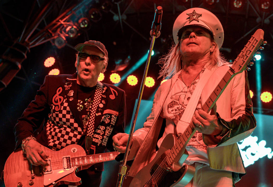 Rick Nielsen and Robin Zander of Cheap Trick are shown at 3rd Street Stage at Fremont Street Ex ...