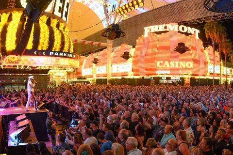 Cheap Trick drew a crowd of about 15,000 at 3rd Street Stage at Fremont Street Experience on Sa ...