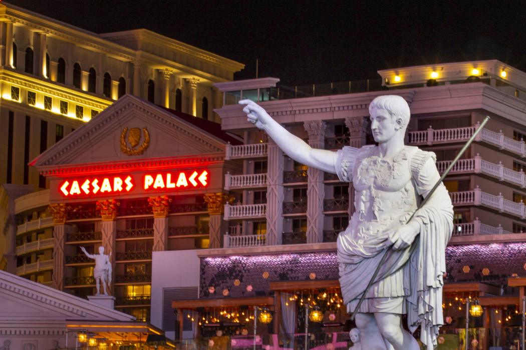 Caesars Palace during the coronavirus pandemic on Sunday, March 15, 2020 in Las Vegas. (L.E. Ba ...