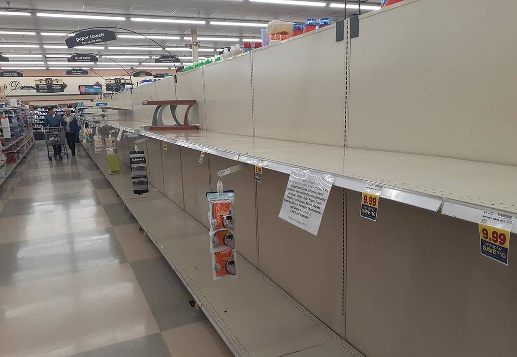 Empty store shelves on SUnday, March 15, 2020, at Smith's Food & Drug at Eastern Avenue and Win ...