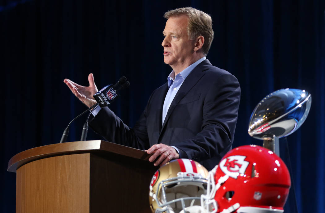 NFL Commissioner Roger Goodell speaks to media during his Super Bowl LIV news conference at the ...