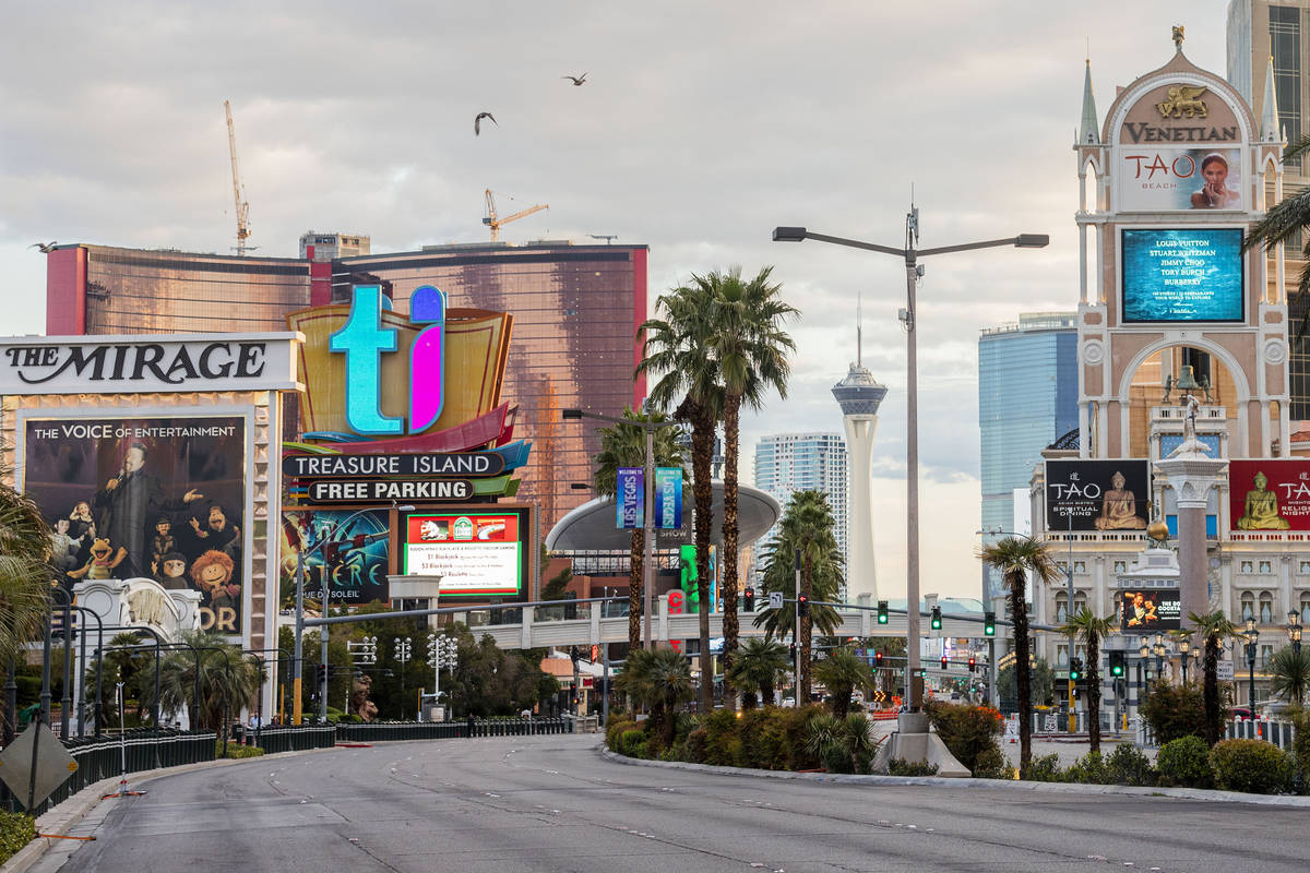 A quiet morning on the Las Vegas Strip on Wednesday, March 18, 2020. (Elizabeth Page Brumley/La ...