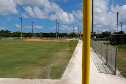 An empty practice field is seen at the Miami Marlins spring training baseball facility, Monday, ...