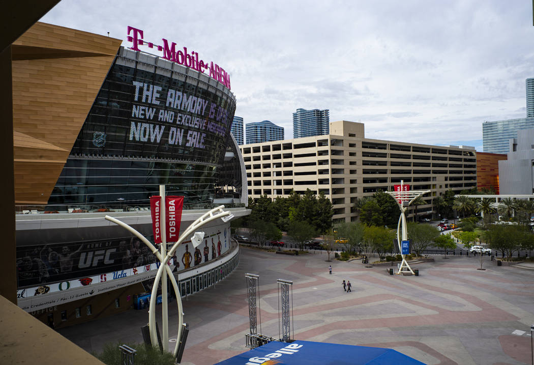 A near-empty Toshiba Plaza and T-Mobile Arena after the Pac-12 men's and women's basketball tou ...