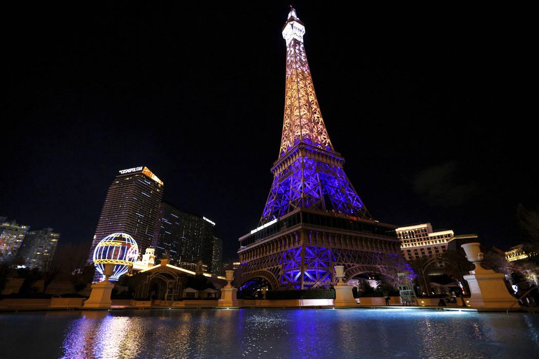 The Paris Las Vegas debuts a new Eiffel Tower light show on the Strip in Las Vegas, Wednesday, ...
