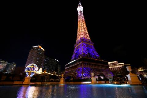 The Paris Las Vegas debuts a new Eiffel Tower light show on the Strip in Las Vegas, Wednesday, ...