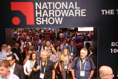 Conventioneers file onto the show floor on opening day of the National Hardware Show at the Las ...