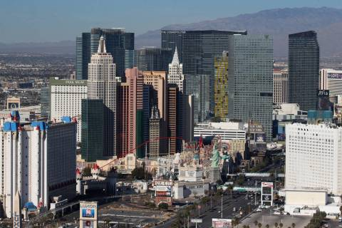 Aerial photo of the Strip in Las Vegas, Thursday, Jan. 23, 2020. (Erik Verduzco / Las Vegas Rev ...