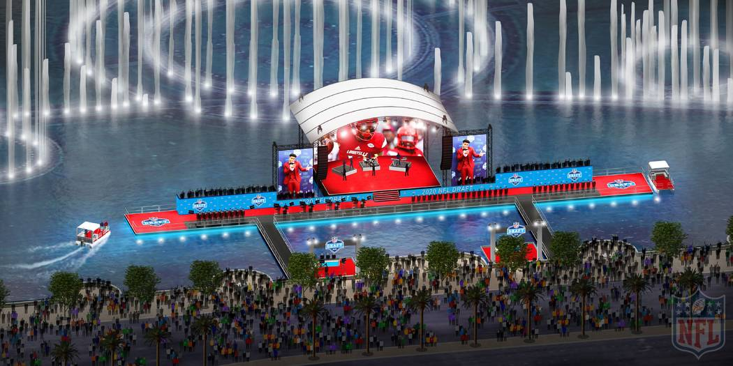 A rendering of the red carpet stage at the Fountains of Bellagio in Las Vegas. (NFL)