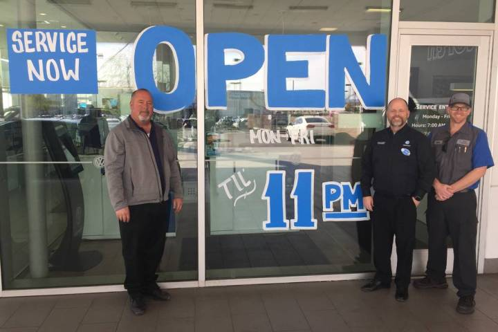 Members of the Findlay North Volkswagen team are, from left, fixed operations manager Russ Garc ...