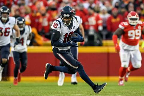 FILE - In this Jan. 12, 2020, file photo, Houston Texans wide receiver DeAndre Hopkins (10) run ...