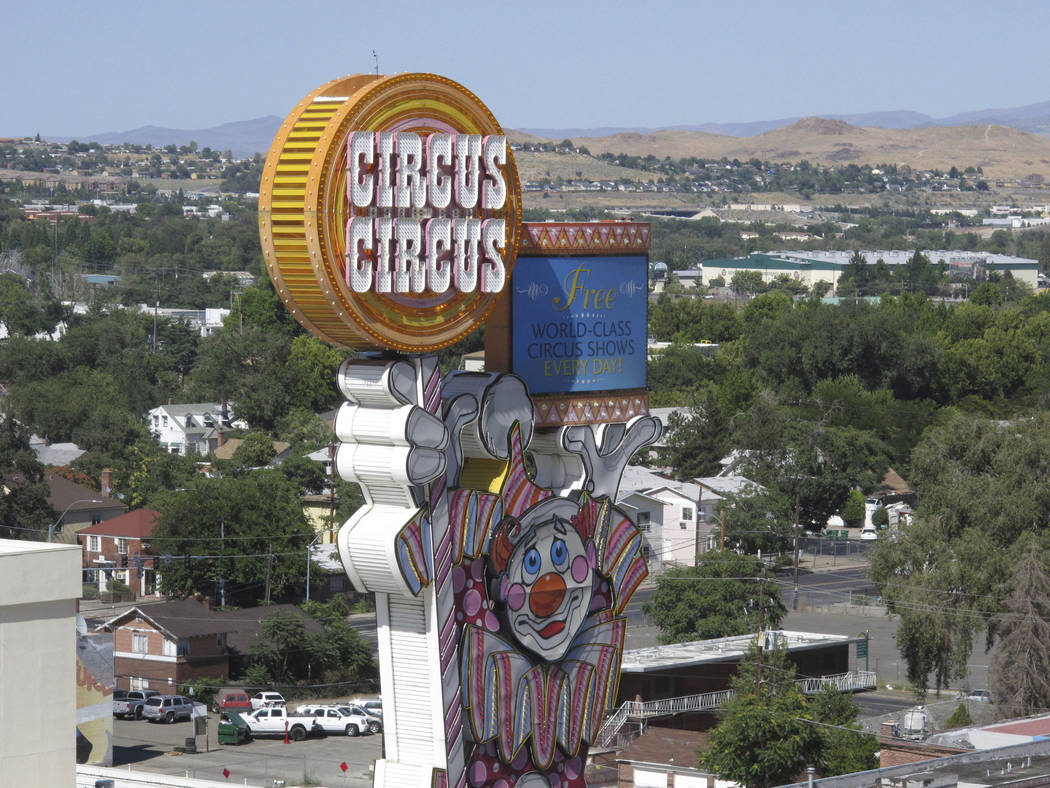 This photo taken Aug. 19, 2019 shows the famous clown at the Circus Circus casinos famous clown ...
