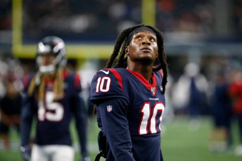 Houston Texans' DeAndre Hopkins (10) warms up before a preseason NFL football game against the ...