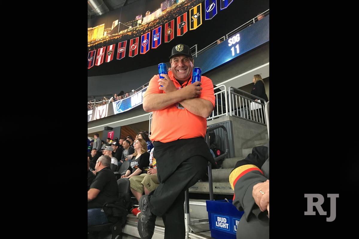 Beer Man Bruce Reiner at Golden Knights game at T-Mobile Arena. (Bruce Reiner)