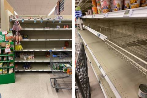Empty shelves are seen Friday, March 13, 2020, at the Nellis Commissary 4200 Mountain Home Blvd ...