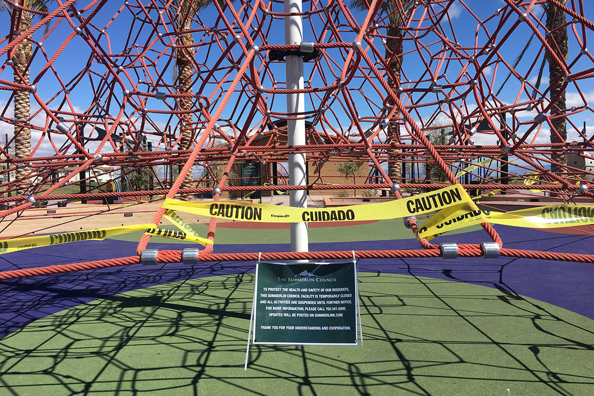 A climbing structure is closed off for use Tuesday, March 17, 2020, at Fox Hill Park in Summerl ...