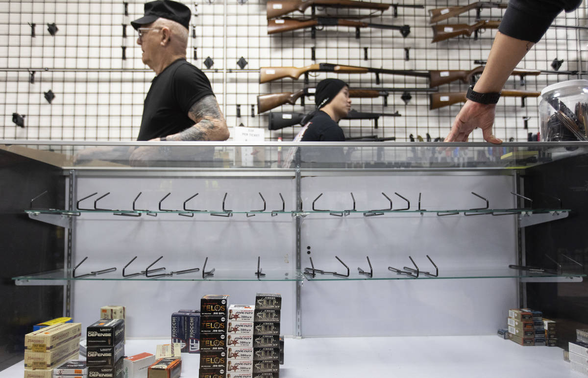 Shelves are low on ammunition and guns at 2nd Amendment Gun Shop on Tuesday, March 17, 2020, in ...