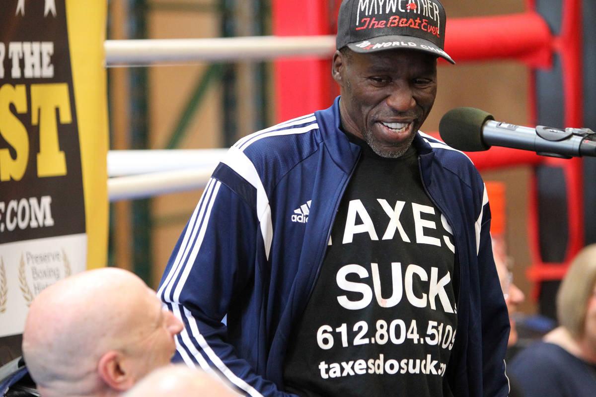 Retired boxer Roger Mayweather gives a speech after being inducted to the Nevada Boxing Hall of ...