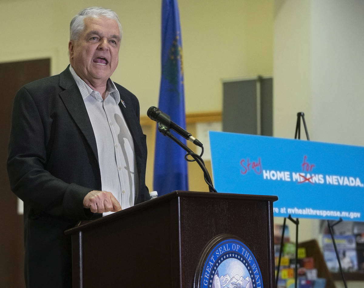 Gov. Steve Sisolak speaks during a press conference to announce the closure of all non-essentia ...