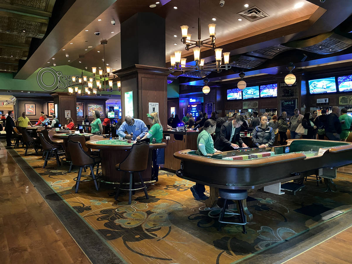 Gambling operations are shut down at OÕSheas on the Strip in Las Vegas Tuesday, March 17, ...