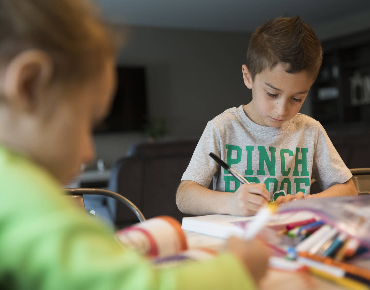 Alex Dolechal, 6, works on a workbook with his sister Angie Dolechal, 3, at their home in Hende ...