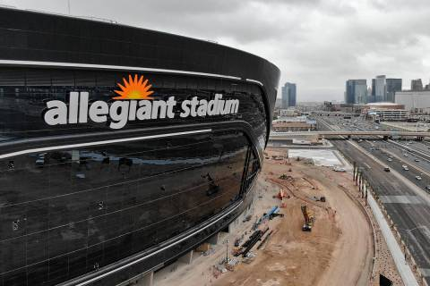 Aerial view of newly installed signage for Allegiant Stadium, future home of the Las Vegas Raid ...