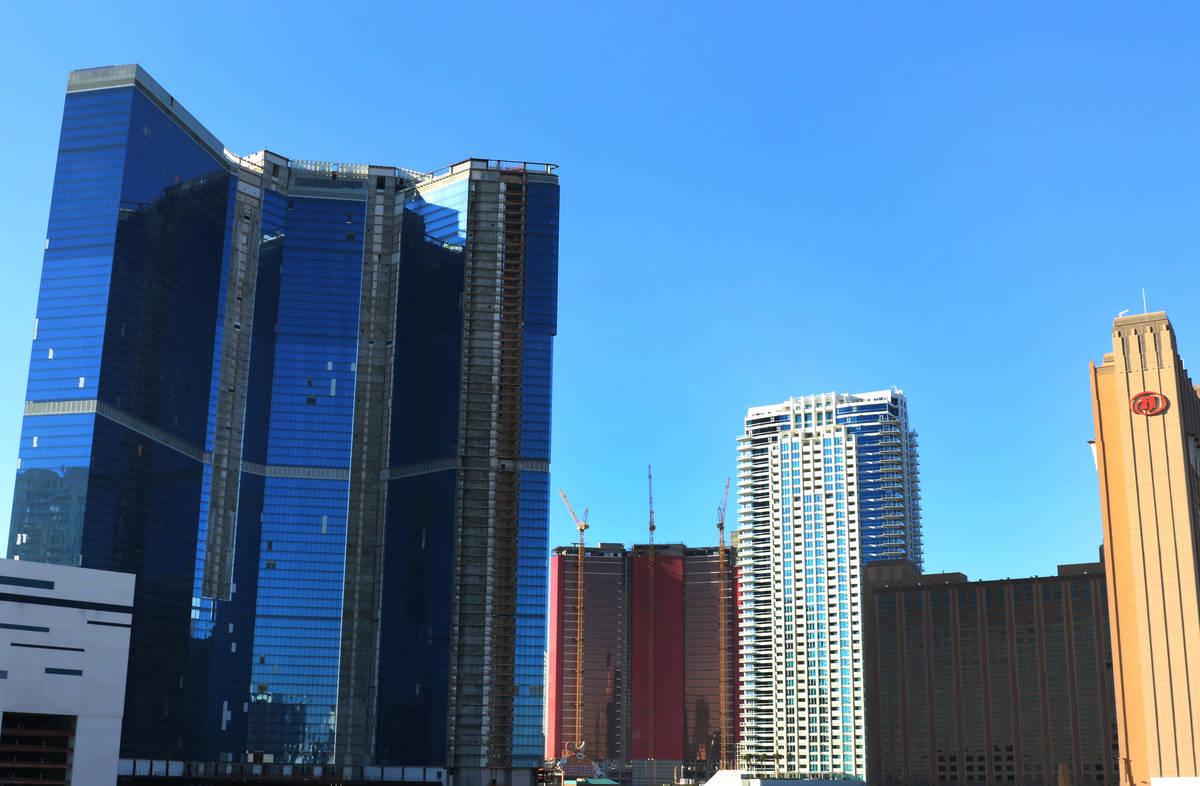 The Drew Las Vegas resort-casino, left, photographed on Monday, Jan. 13, 2020, in Las Vegas. Bi ...