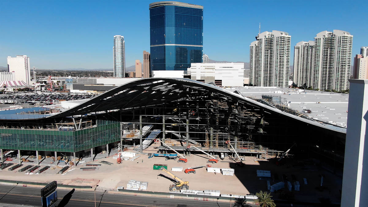An aerial view of the Las Vegas Convention Center expansion under construction on Tuesday, Dece ...
