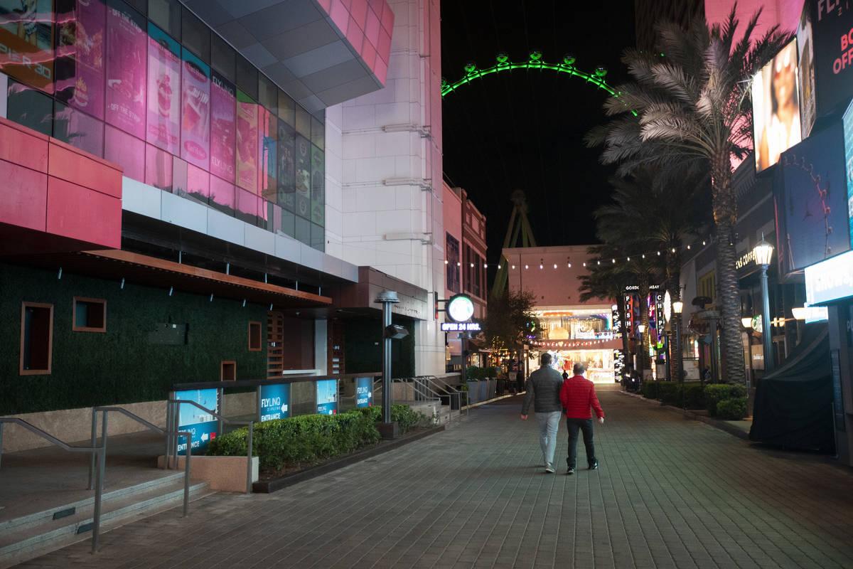 The LINQ Promenade is quiet on the Strip on Tuesday, March 17, 2020, in Las Vegas. (Ellen Schmi ...