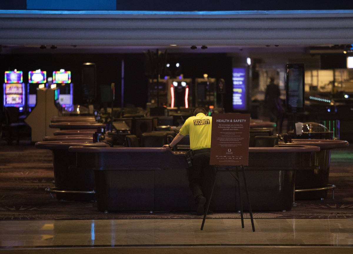 A security guard watches over the LINQ on the Strip on Tuesday, March 17, 2020, in Las Vegas. ( ...