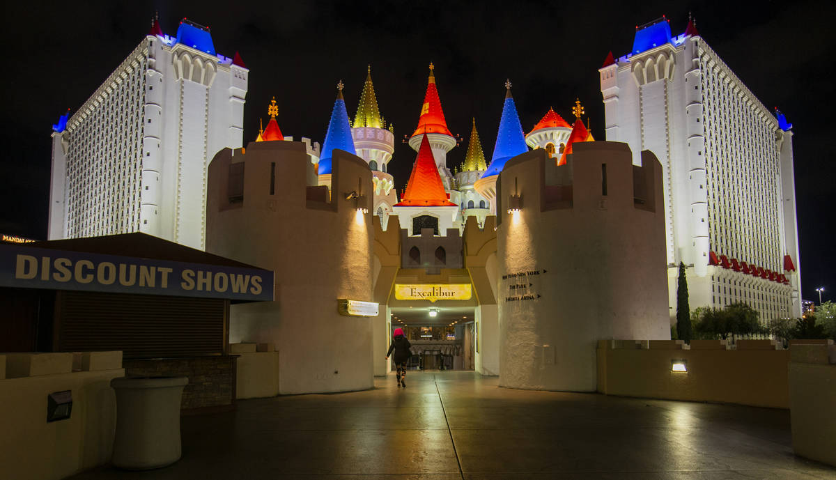 A lone traveler walks towards the Excalibur as non-essential business closures continue on the ...