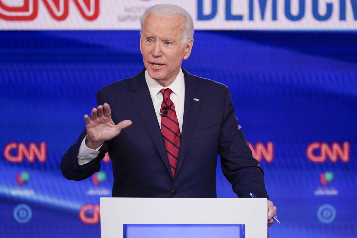Former Vice President Joe Biden, participates in a Democratic presidential primary debate at CN ...