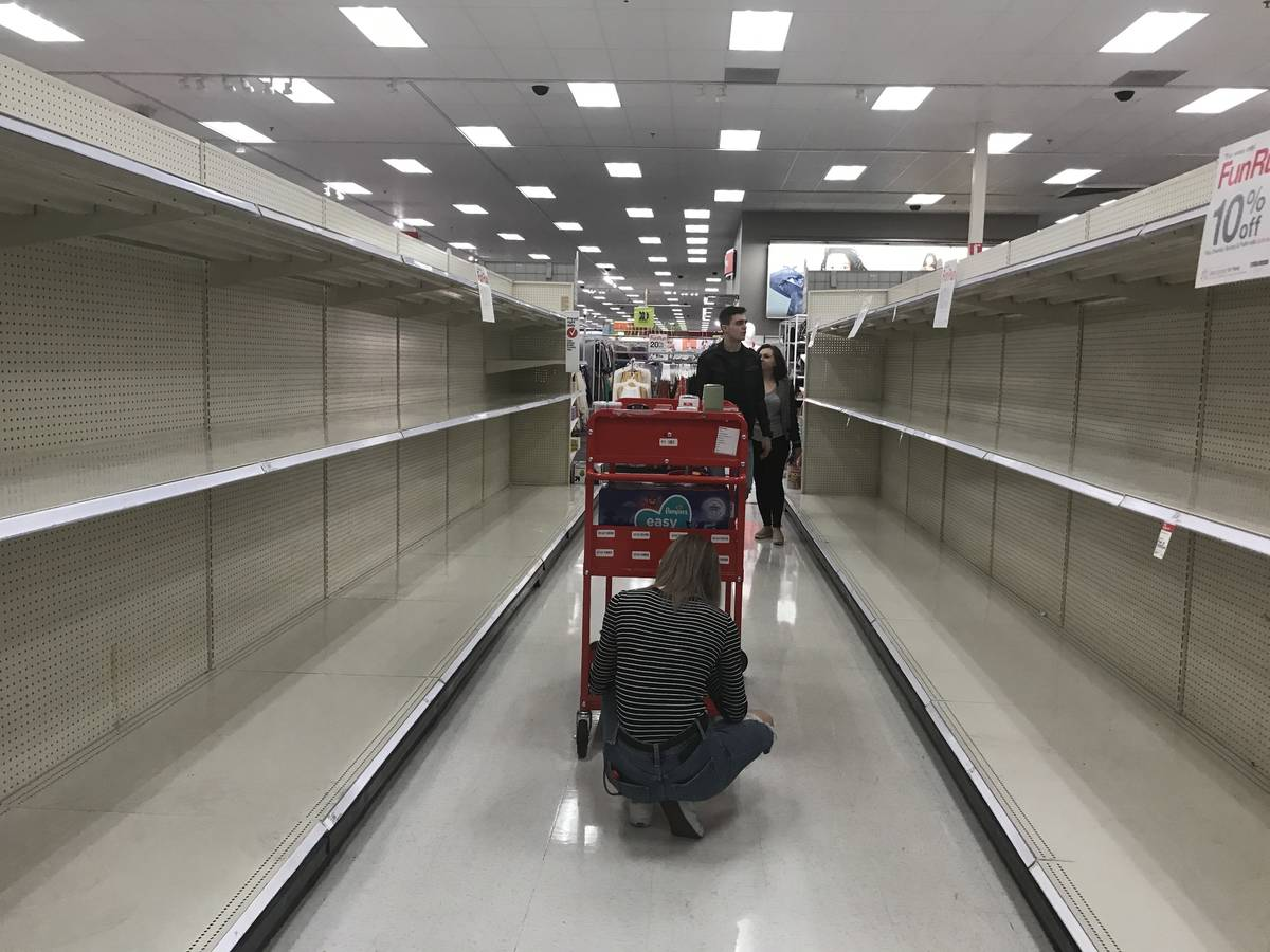 Empty shelves are seen at Target off Flamingo Road and Hualapai Way in Las Vegas, Friday, March ...