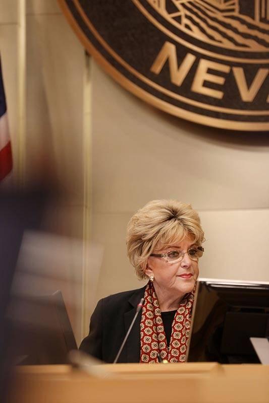 Las Vegas Mayor Carolyn Goodman leads a public meeting at the Las Vegas City Hall Council Chamb ...