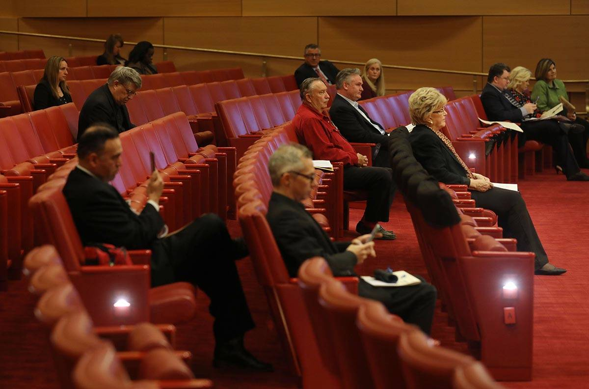 Las Vegas Mayor Carolyn Goodman waits in the front row to deliver a public statement during a p ...