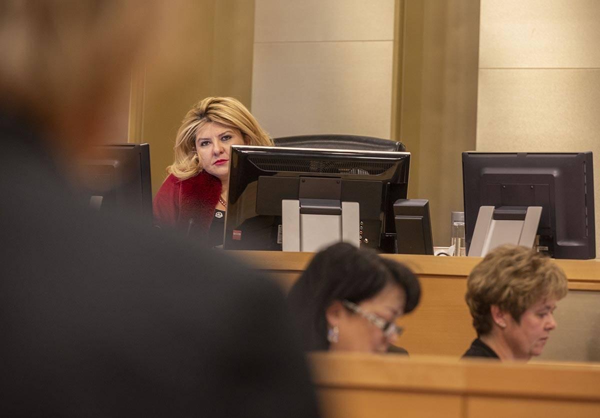Mayor Pro Tem Michele Fiore listens as Las Vegas Mayor Carolyn Goodman delivers a public statem ...