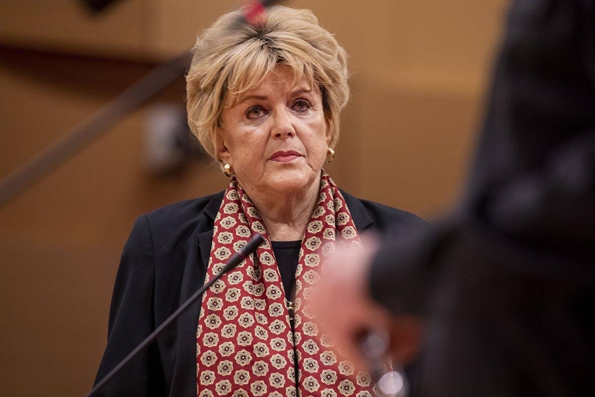Las Vegas Mayor Carolyn Goodman listens as City Attorney for Las Vegas Brad Jerbic delivers a p ...