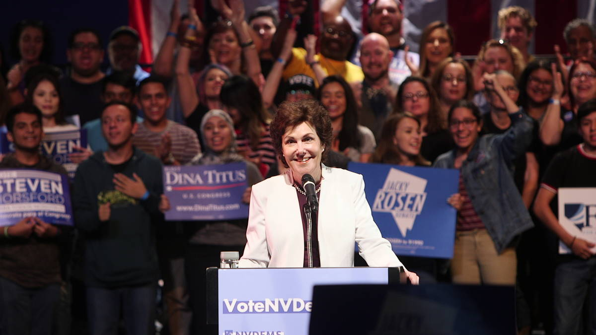 Sen. Jackie Rosen, D-Nev., speaks at a rally at the Las Vegas Academy of the Arts Performing Ar ...