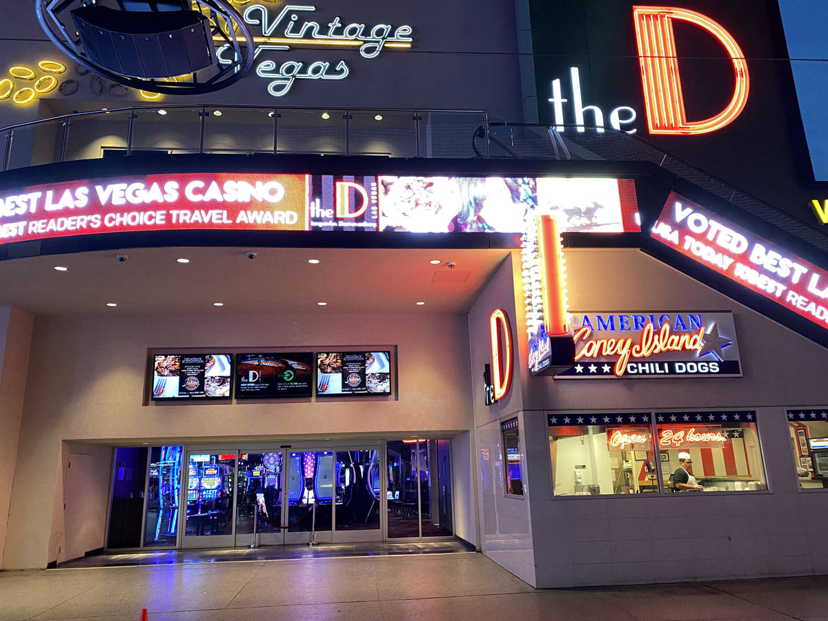The D at Fremont Street Experience in downtown Las Vegas Wednesday, March 18, 2020. (K.M. Canno ...